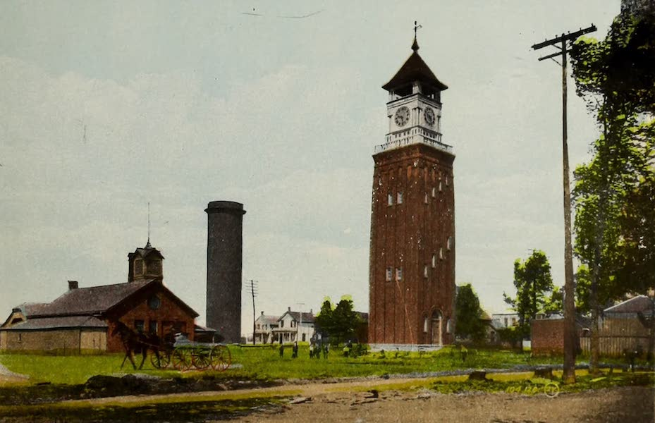 Picturesque Souvenir of Gananoque and Thousand Islands - Clock Tower and Reservoir (1910)