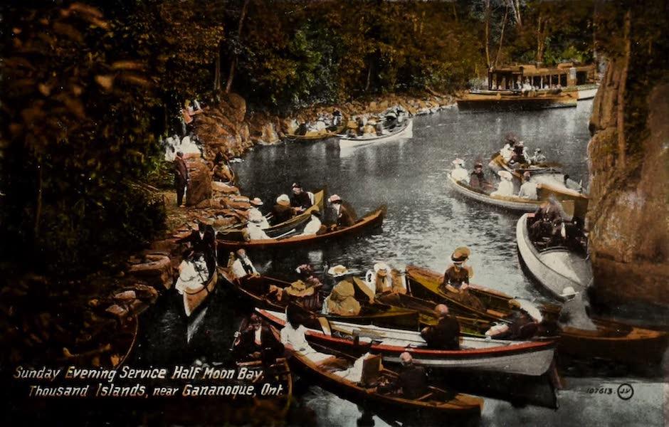Picturesque Souvenir of Gananoque and Thousand Islands - Sunday Evening Service, Half Moon Bay, Thousand Islands (1910)