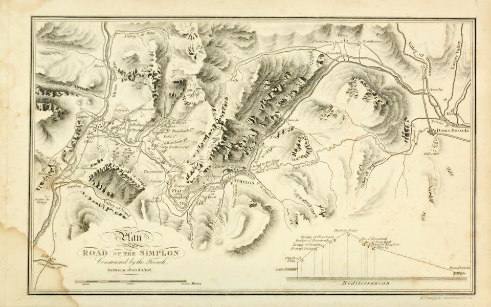 Picturesque Tour from Geneva to Milan - Plan of the Road of the Simplon (1820)