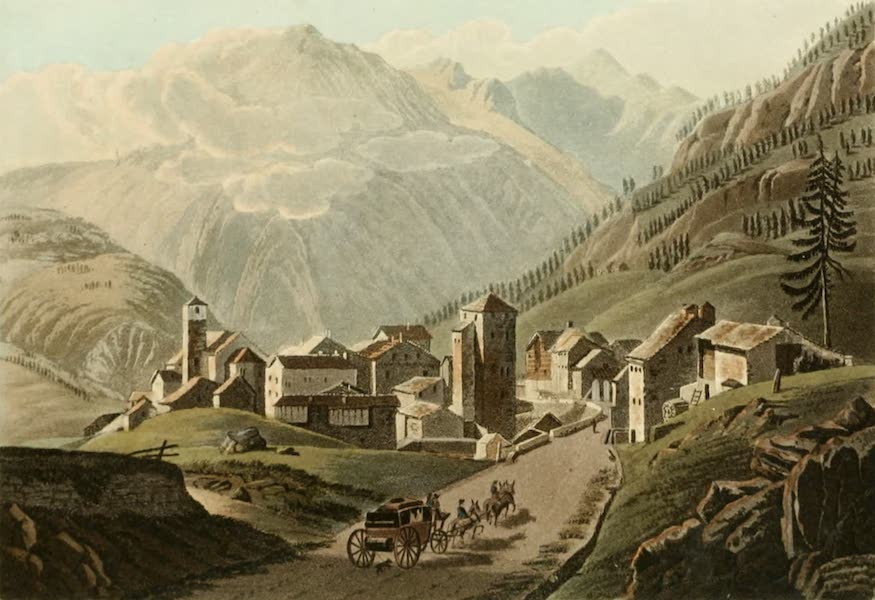 Picturesque Tour from Geneva to Milan - View of the Village of Simplon (1820)