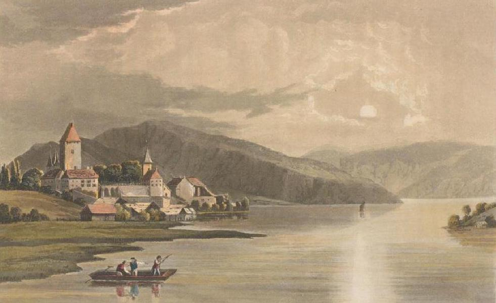 Picturesque Tour through the Oberland - View of the Castle of Spiez (1823)