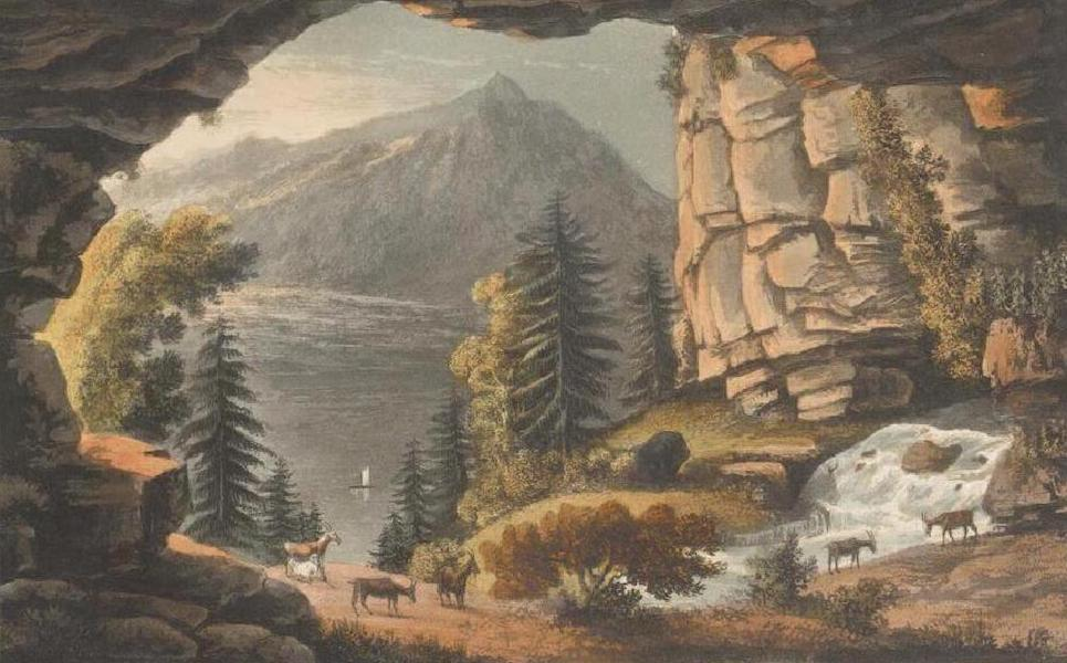 Picturesque Tour through the Oberland - View of the Cavern of St. Beat, near the Lake of Thun (1823)