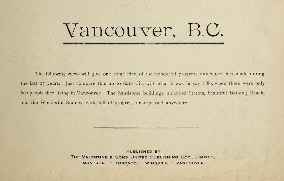 Picturesque Vancouver B.C. - Title Page (1910)