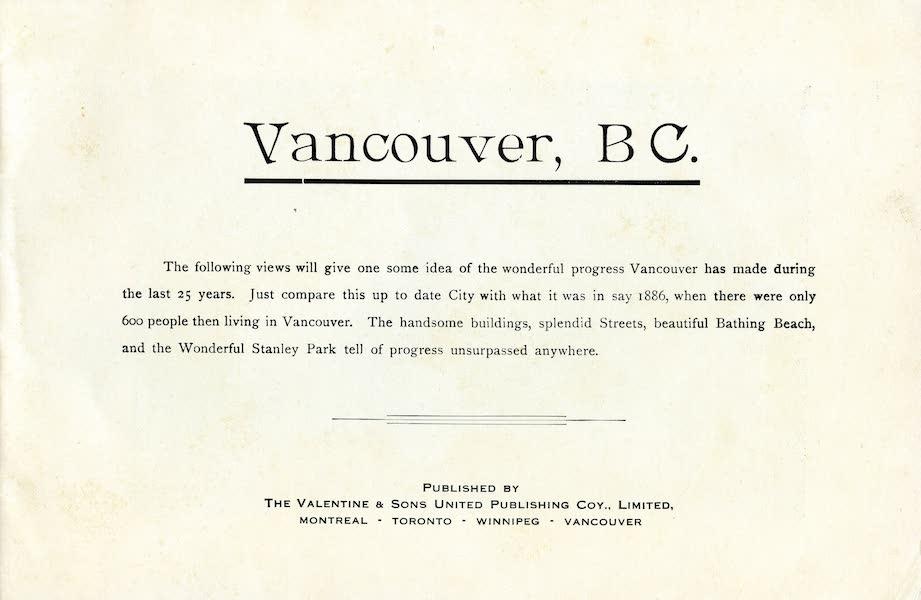 Picturesque Vancouver B.C. - Title Page (1911)