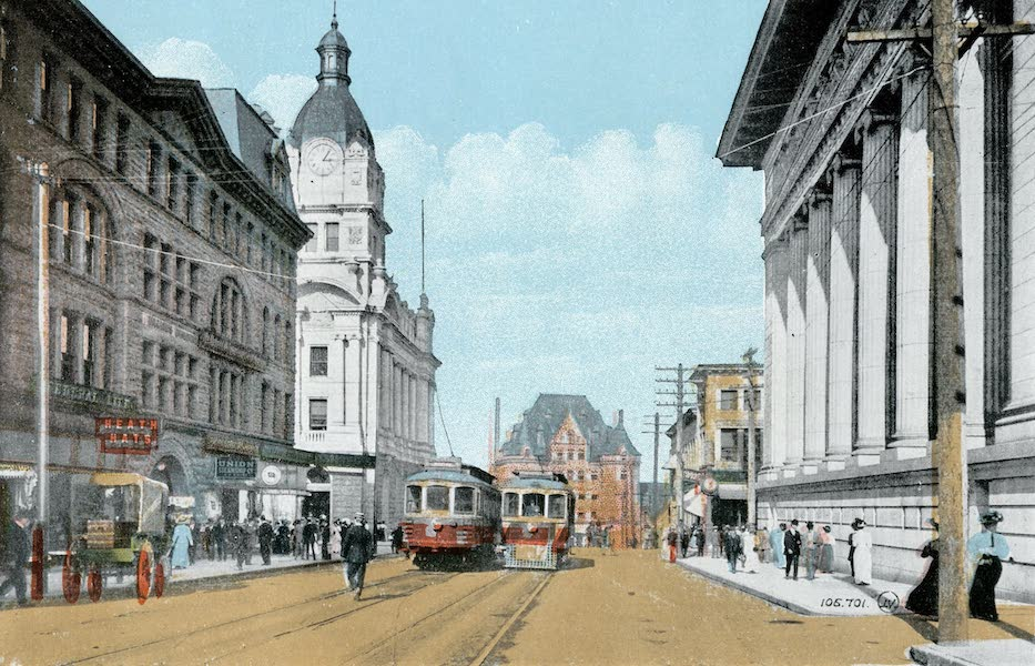 Picturesque Vancouver B.C. - Granville Street, showing Post Office, C.P.R. Depot, and Bank of Commerce (1911)