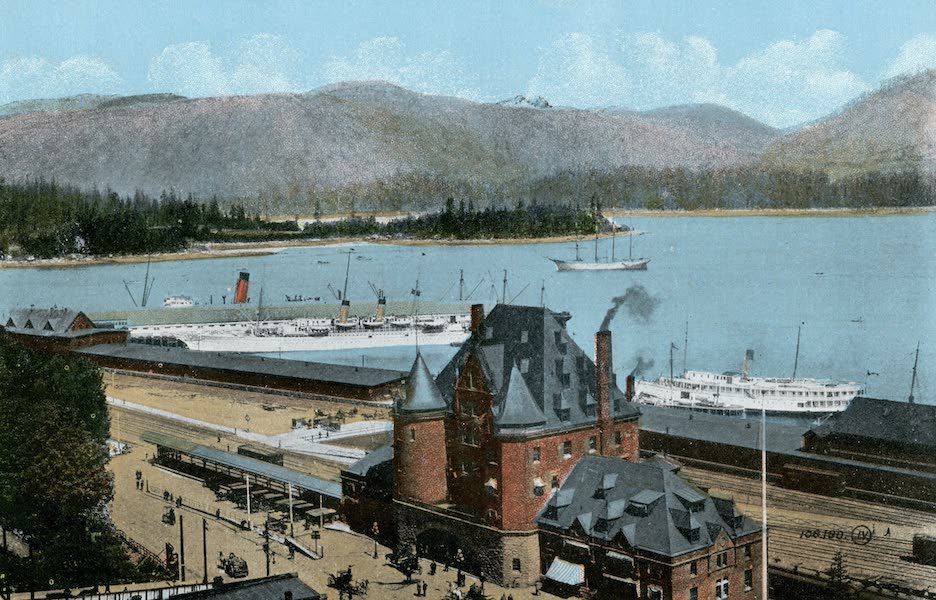 Picturesque Vancouver B.C. - C.P.R. Depot and Docks, Burrard Inlet (1911)