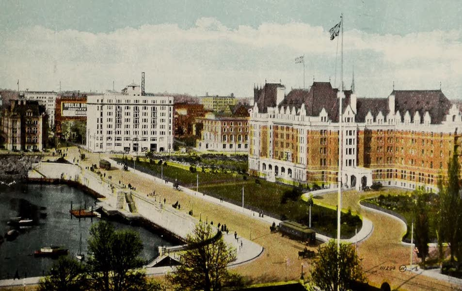 Picturesque Victoria - Causeway, showing Belmont Building and Empress Hotel (1910)