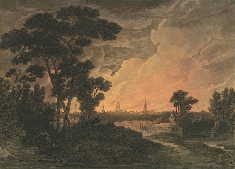 Picturesque Views of American Scenery - Burning of Savannah (1820)