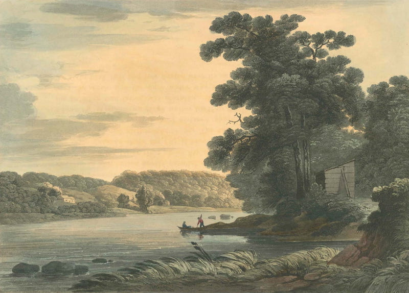 Picturesque Views of American Scenery - View above the Falls of Schuylkill (1820)