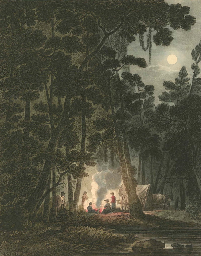 Picturesque Views of American Scenery - View by Moonlight Near Fayetteville (1820)