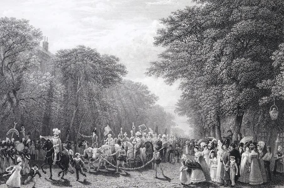 Picturesque Views of the City of Paris Vol. 1 - Boulevard Mont-Martre, with the Procession of the Boeuf Gras (1823)