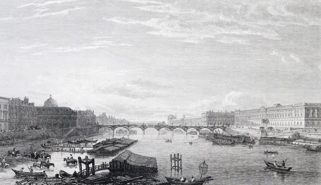 Picturesque Views of the City of Paris Vol. 1 - Louvre, from Pont Neuf (1823)