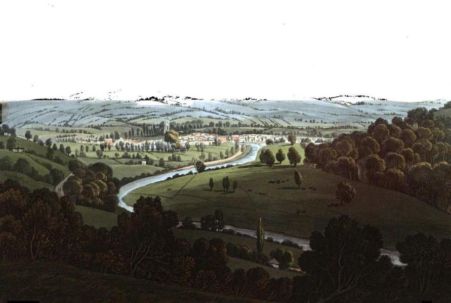 Picturesque Views on the River Exe - View of Tiverton from the Hills near Ashley (1819)