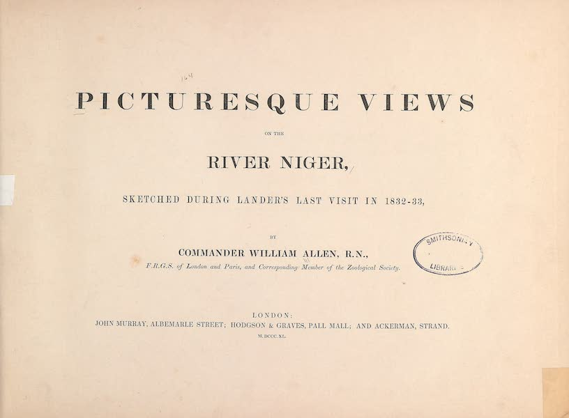 Picturesque Views on the River Niger - Title Page (1840)