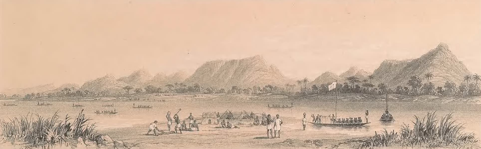 Picturesque Views on the River Niger - Mountains & Market Canoes Near Bokweh (1840)