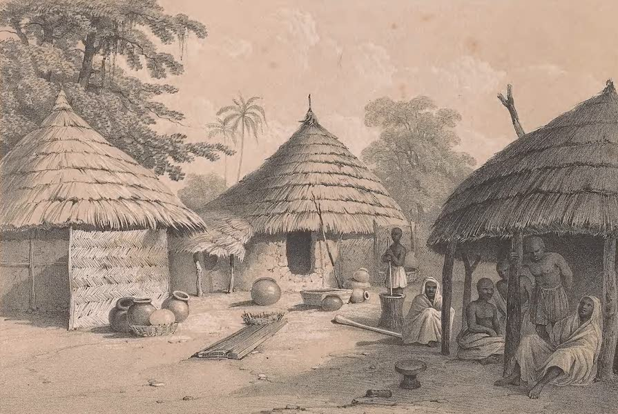 Picturesque Views on the River Niger - Huts at Jogguh (1840)