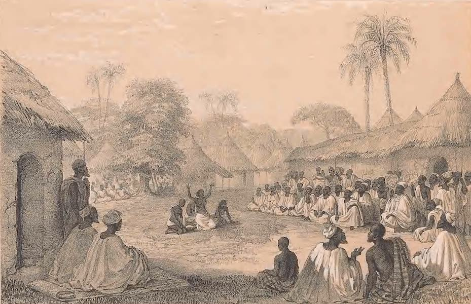 Picturesque Views on the River Niger - The King Giving Judgement at the Gate of his Palace (1840)