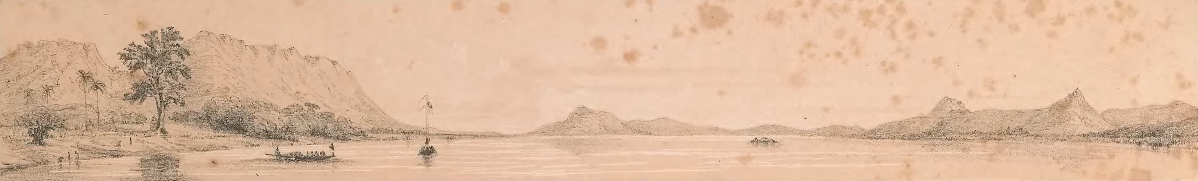 Picturesque Views on the River Niger - Beaufort Island Looking Up the River (1840)