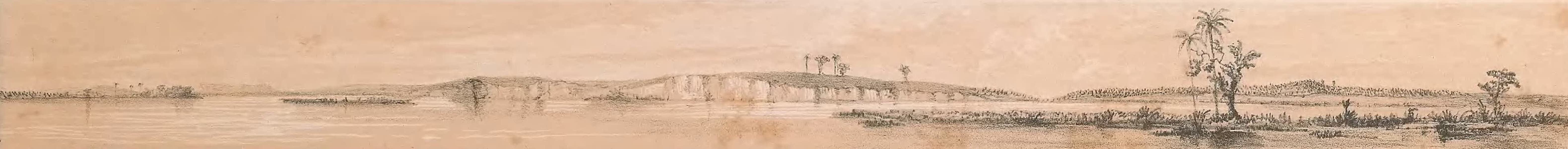 Picturesque Views on the River Niger - Zagoshi Looking Up the River, the City of Rabba (1840)