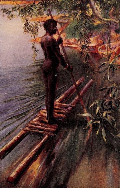 An Australian Aborigine Navigating a Raft