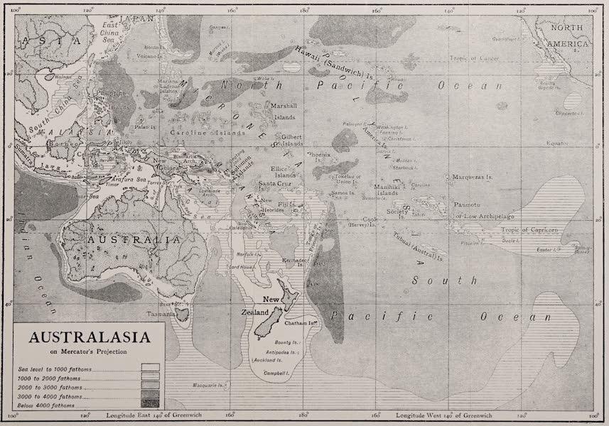 Pioneers in Australasia - Australasia on Mercators Projection (1912)