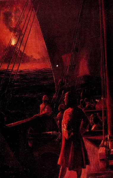 Dampier and His Crew Watching a Volcanic Eruption