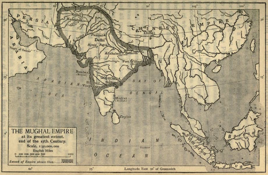 Pioneers in India - The Mughal Empire at its Greatest Extent (1913)