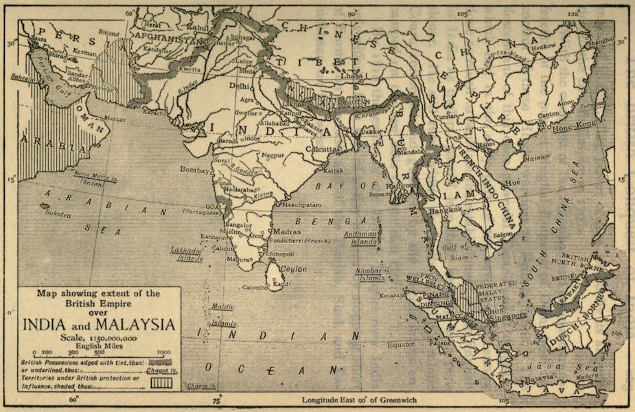 Pioneers in India - Map Showing Extent of the British Empire Over India and Malaysia (1913)