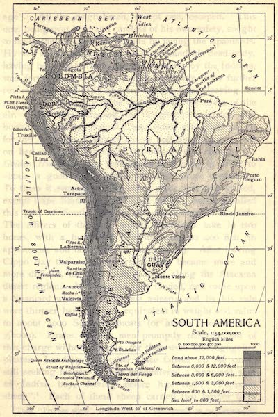 Pioneers in Tropical America - Map of South America (1914)