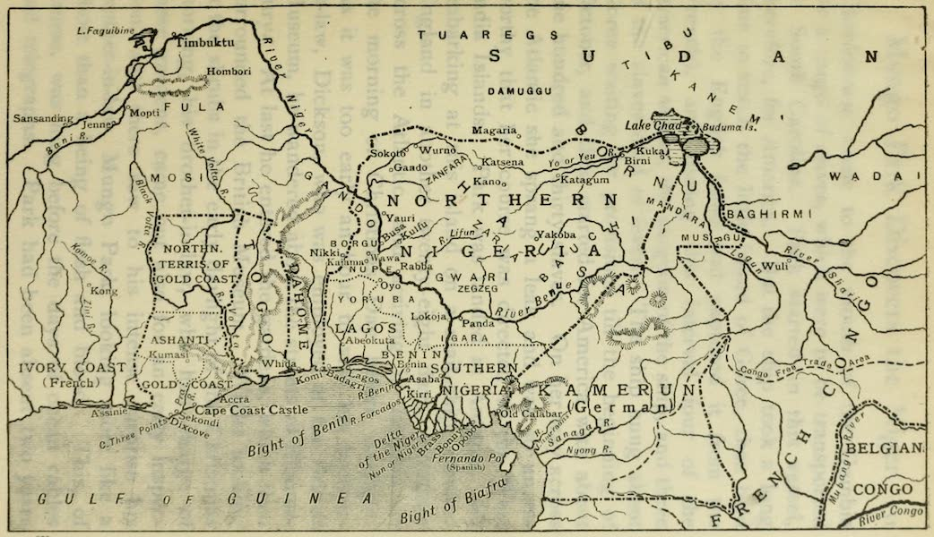 Pioneers in West Africa - Map of Nigeria and Gold Coast (1912)