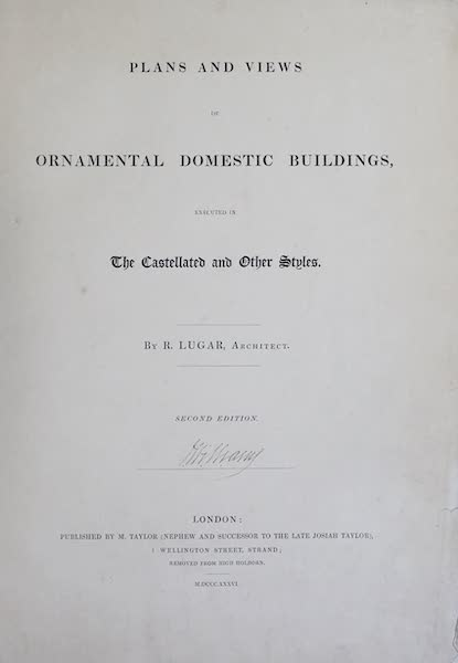 Plans and Views of Ornamental Domestic Buildings - Title Page (1836)