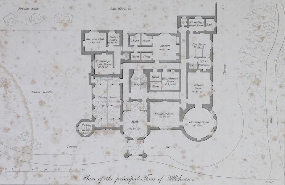 Plans and Views of Ornamental Domestic Buildings - Plan of the Principal Floor of Tillicheun (1836)