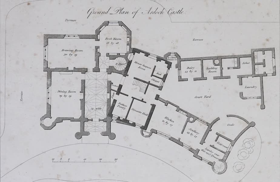 Plans and Views of Ornamental Domestic Buildings - Ground Plan of Balloch Castle (1836)