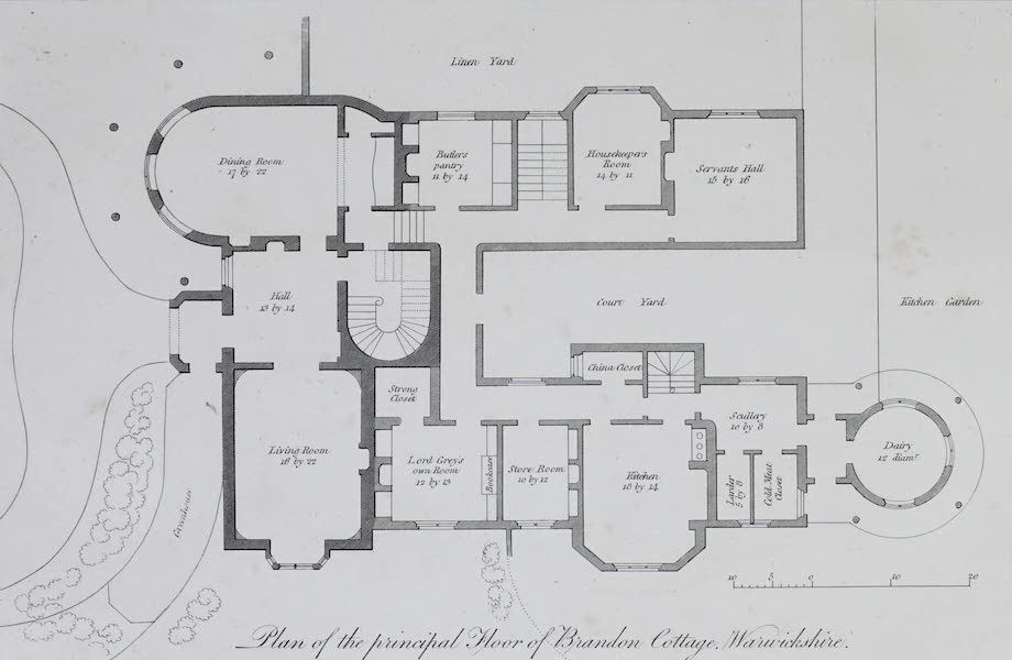 Plans and Views of Ornamental Domestic Buildings - Plan of the Principal Floor of Brandon Cottage, Warwickshire (1836)
