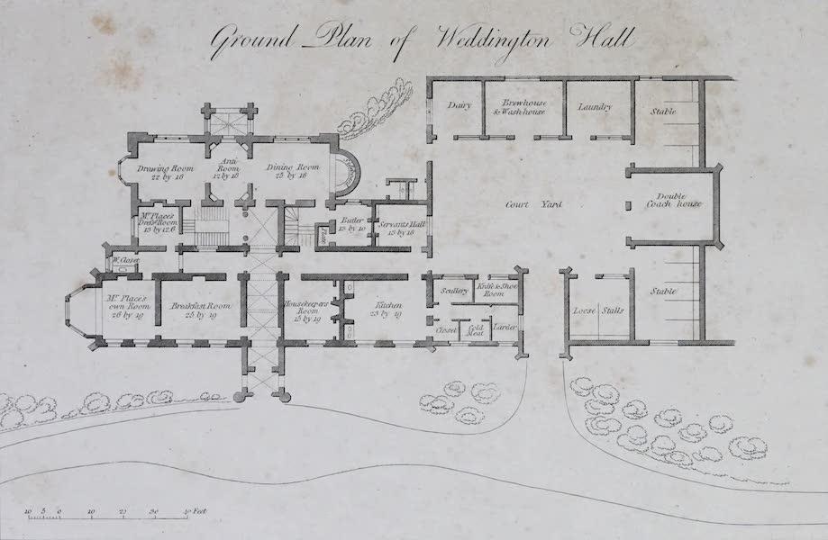 Plans and Views of Ornamental Domestic Buildings - Ground Plan of Weddington Hall (1836)