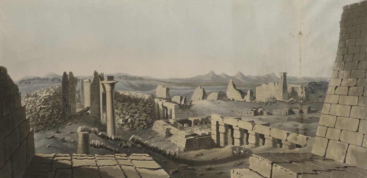 Plates Illustrative of the Researches and Operations of G. Belzoni - General view of the ruins of the Great Temple at Carnac (1820)