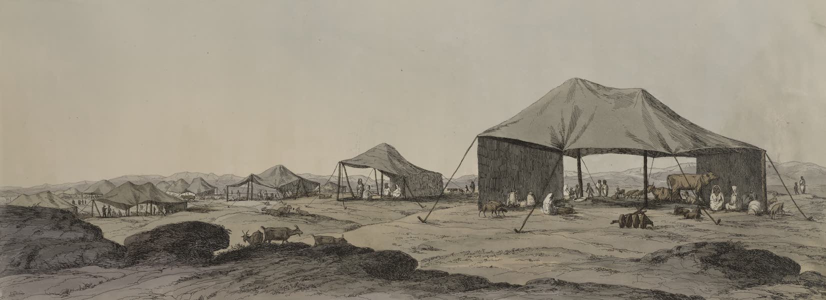 Plates Illustrative of the Researches and Operations of G. Belzoni - Bedouins camp (1820)