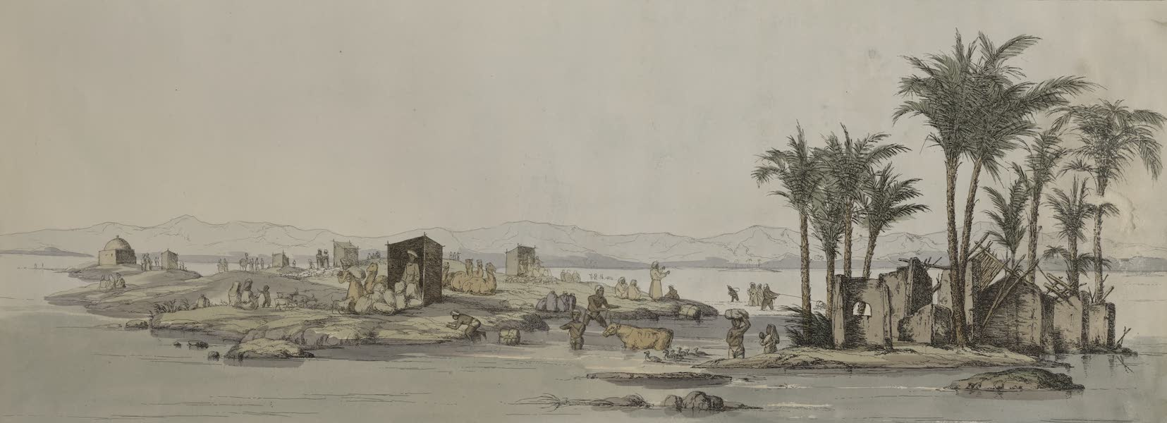 Plates Illustrative of the Researches and Operations of G. Belzoni - Overflowing of the Nile (1820)