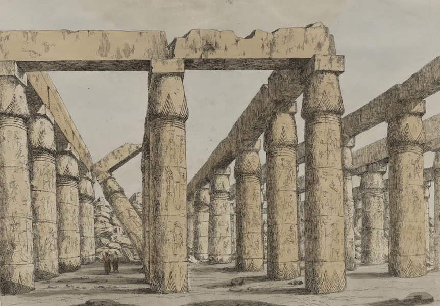 Plates Illustrative of the Researches and Operations of G. Belzoni - View of the interior of the temple of Carnak (1820)