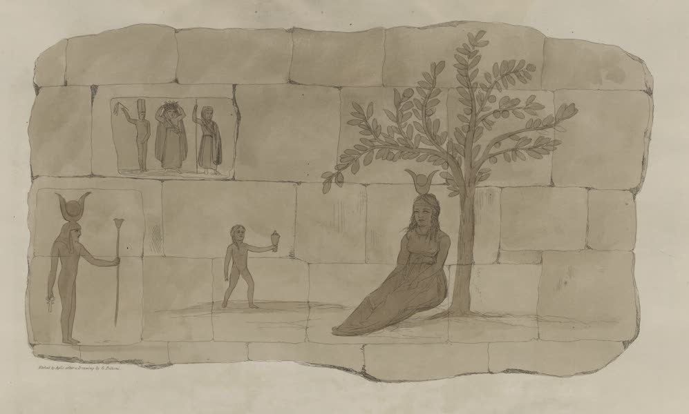 Plates Illustrative of the Researches and Operations of G. Belzoni - Ruins of a wall near the temple at Offedina, Nubia (1820)