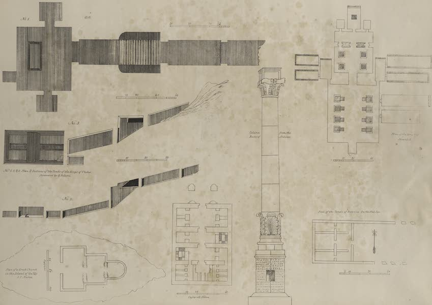 Plates Illustrative of the Researches and Operations of G. Belzoni - No.1,2,3. Plan and section of the tombs of the kings of Thebes; [4] Plan of a Greek church in the Island of Gulloe, S.C. Nubia; [5]Cassar el Haron; [6] Column from the ruins of Antinoe; [7] Temple of Ibsambul [Abu Sunbul]; [8] Temple of Berenice [Baranis] (1820)