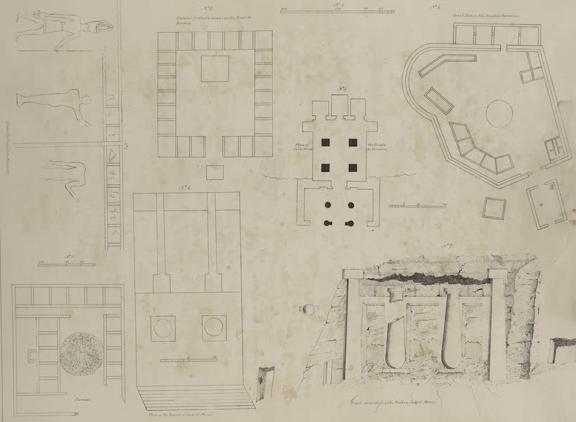 Plates Illustrative of the Researches and Operations of G. Belzoni - 1. From the temple in Berenice [Baranis]; 2. Stations for the caravans? ; 3. Plan of the temple on the road to Berenice; 4. Greek fort... ; 5. Samaut; 6. Plan of the temple of Sakiet Minor; 7. Temple excavated in the rock in Sakiet Minor. (1820)