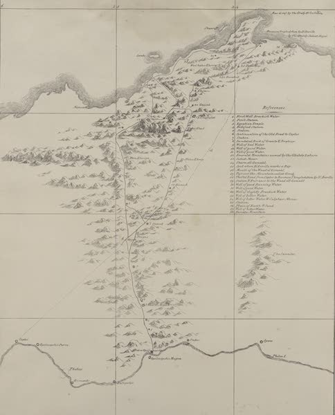 Plates Illustrative of the Researches and Operations of G. Belzoni - Map of road to the Mountains of the Emeralds and Berenice on the Red Sea (1820)
