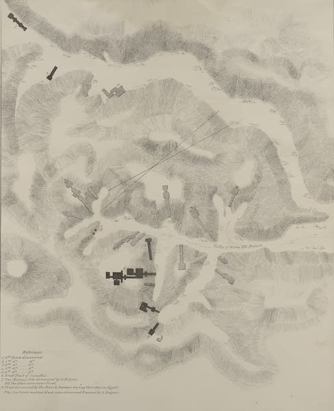 Plates Illustrative of the Researches and Operations of G. Belzoni - Topographical map of the valley of Biban el Malook, in which the tombs of the kings are situated (1820)