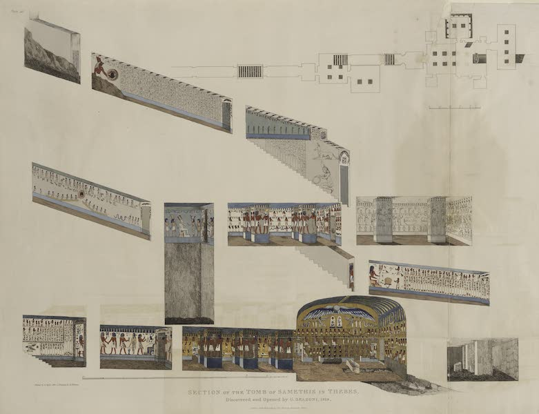 Plates Illustrative of the Researches and Operations of G. Belzoni - Section of the tomb of Samethis in Thebes. Discovered and opened by G. Belzoni, 1818 (1820)