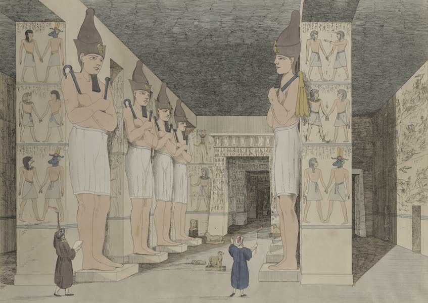 Plates Illustrative of the Researches and Operations of G. Belzoni - View of the interior of the temple at Ybsambul in Nubia. Opened by G. Belzoni, 1818 (1820)
