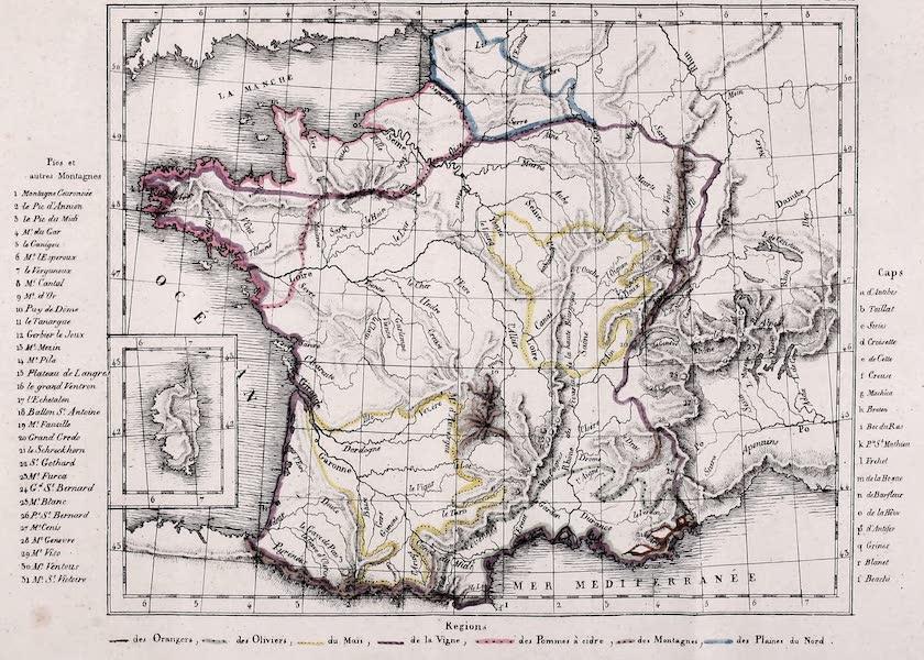 Porte-Feuille Geographique et Ethnographique [Atlas] - Carte Physique et Agricole de la France [I] (1820)
