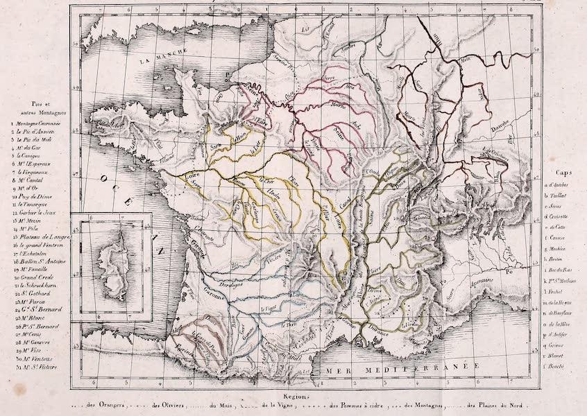 Porte-Feuille Geographique et Ethnographique [Atlas] - Carte Physique et Agricole de la France [II] (1820)
