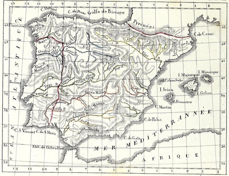 Porte-Feuille Geographique et Ethnographique [Atlas] - Carte physique de l'Espagne (1820)