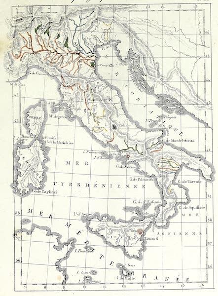 Porte-Feuille Geographique et Ethnographique [Atlas] - Carte physique de l'Italie (1820)